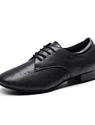 cheap -Men's Modern Shoes / Ballroom Shoes Leather Lace-up Heel Thick Heel Customizable Dance Shoes Black / Practice