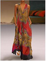 cheap -Women's Plus Size Maxi Swing Dress - Geometric V Neck Royal Blue Red Light Blue S M L XL
