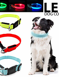 cheap -Dog Cat Pets Collar Light Up Collar Adjustable / Retractable LED Lights Flashing Solid Colored Polyester Small Dog Yellow Red