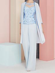 abordables -Tailleur-pantalon Bijoux Longueur Sol Mousseline de soie / Dentelle Manches Longues Transparent / Elégant Robe de Mère de Mariée  avec Appliques 2020