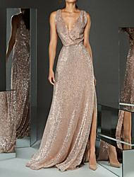 cheap -A-Line Sparkle & Shine Formal Evening Dress Plunging Neck Sleeveless Sweep / Brush Train Sequined with Sequin Split Front 2021