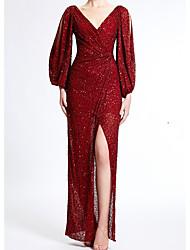 cheap -Sheath / Column Elegant Formal Evening Dress V Neck Long Sleeve Floor Length Sequined with Split Front 2021