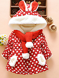 cheap -Baby Girls' Active Polka Dot Christmas Print Regular Down & Cotton Padded Red / Toddler