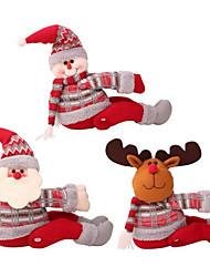 Недорогие -1 шт. Творческий милая кукла занавес пряжки рождественские украшения дома большой санта снеговик лось куклы витрины украшения рождество