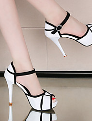 cheap -Women's Heels Stiletto Heel Peep Toe PU Sweet / Minimalism Spring &  Fall / Fall & Winter White / Party & Evening / Color Block