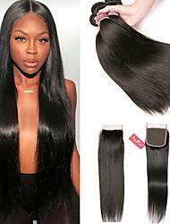 cheap -3 Bundles with Closure Peruvian Hair Straight Virgin Human Hair 100% Remy Hair Weave Bundles Natural Color Hair Weaves / Hair Bulk Bundle Hair Human Hair Extensions 8-24 inch Natural Color Human Hair