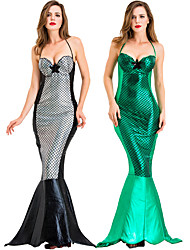 cheap -The Little Mermaid Mermaid Tail Dress Cosplay Costume Masquerade Adults' Women's Cosplay Halloween Halloween Festival / Holiday Cotton Polyster Black / Green Women's Carnival Costumes
