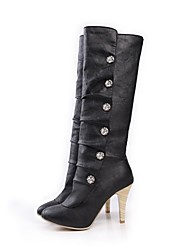 cheap -Women's Boots Stiletto Heel Pointed Toe PU Mid-Calf Boots Fall & Winter Black / White / Pink