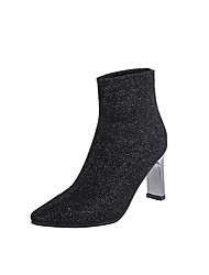 cheap -Women's Boots Block Heel Pointed Toe Sequin Elastic Fabric Booties / Ankle Boots Casual Walking Shoes Fall & Winter Black / Gray