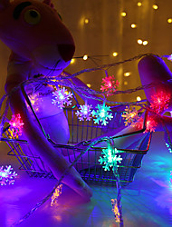 cheap -3m String Lights 20 LEDs EL Warm White RGB Wedding Christmas Wedding Decoration Party Supplies Snowflake Rope Light Garland Ornaments Tree Home Decorations Winter Snow Batteries Powered 1pc