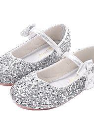 cheap -Girls' Novelty / Flower Girl Shoes PU Flats Little Kids(4-7ys) Walking Shoes Bowknot Purple / Pink / Silver Fall / Winter / Rubber