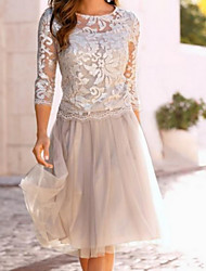 cheap -A-Line Mother of the Bride Dress Elegant See Through Jewel Neck Knee Length Chiffon Lace 3/4 Length Sleeve with Lace Ruching 2020 Mother of the groom dresses