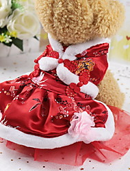 cheap -Dogs Cats Pets Dress Winter Dog Clothes Warm Red Costume Polyster Lolita Ethnic New Year's XS S M L XL XXL