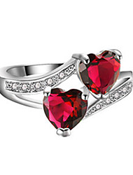 cheap -Women's Ring AAA Cubic Zirconia 1pc Red Blue Light Blue Silver-Plated Stylish Daily Jewelry Heart Cute Heart