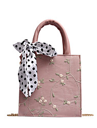 cheap -Women's Embroidery / Lace Polyester / Cotton Top Handle Bag Floral Print Black / Blushing Pink / Green