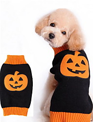 cheap -Dogs Sweater Winter Dog Clothes Orange Halloween Costume Polyster Pumpkin Holiday XXS XS S M L XL