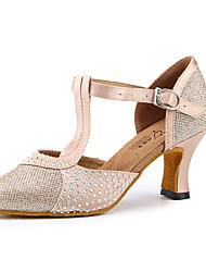 cheap -Women's Modern Shoes Ballroom Shoes High Heel Crystals Splicing Cuban Heel Light Yellow Black Buckle Ankle Strap / Practice