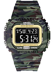 cheap -Men's Sport Watch Digital Sporty Rubber Black 30 m Military LED Light Stopwatch Digital Outdoor - Black Black / White Pearl One Year Battery Life / Maxell CR2025