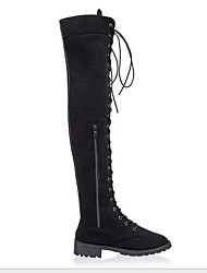 cheap -Women's Boots Knee High Boots Flat Heel Round Toe PU Knee High Boots Fall & Winter Black