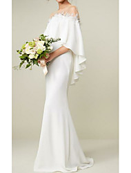 cheap -Sheath / Column Jewel Neck Sweep / Brush Train Charmeuse 3/4 Length Sleeve Made-To-Measure Wedding Dresses with Appliques 2020