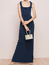cheap -A-Line Square Neck Floor Length Chiffon Bridesmaid Dress with Split Front / Cascading Ruffles / Open Back