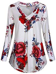 cheap -Women's Plus Size Floral T-shirt Daily V Neck White / Black / Blue / Green / Light Green