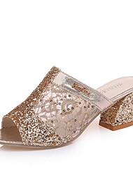 cheap -Women's Sandals Low Heel Peep Toe Mesh Summer Gold / Silver