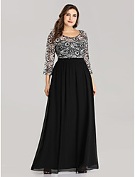 cheap -A-Line Jewel Neck Floor Length Chiffon / Lace Plus Size / Black Formal Evening / Wedding Guest Dress with Pattern / Print 2020