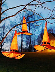 cheap -1pc Night Light Orange Halloween Witch Hat With Pointed Cap With LED Light Pendant Party Cosplay Witch Hat Fancy Dress Supplies Party Hat