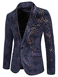 cheap -Men's Blazer, Solid Colored Shirt Collar Cotton / Polyester Blue / Red