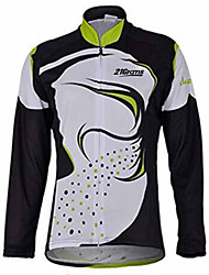 cheap -21Grams Men's Long Sleeve Cycling Jersey Black / White Bike Jersey Top Mountain Bike MTB Road Bike Cycling Thermal / Warm UV Resistant Breathable Sports Winter 100% Polyester Clothing Apparel