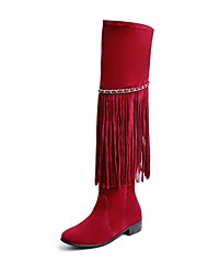 cheap -Women's Boots Knee High Boots Flat Heel Round Toe Tassel Suede Knee High Boots Fall & Winter Black / Yellow / Red