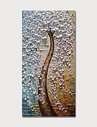 abordables -Peinture à l'huile Hang-peint Peint à la main - A fleurs / Botanique Moderne Inclure cadre intérieur