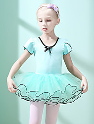 cheap -Ballet Dresses Girls' Training / Performance Cotton / Elastane Cascading Ruffles Short Sleeve Dress