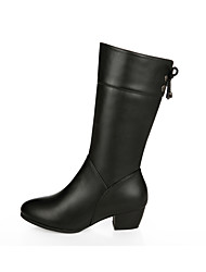 cheap -Women's Boots Chunky Heel Round Toe Stitching Lace PU Mid-Calf Boots Casual Walking Shoes Fall & Winter Black
