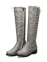 cheap -Women's Boots Knee High Boots Low Heel Round Toe PU Knee High Boots Summer Black / Gray / Coffee