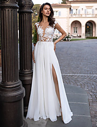 cheap -A-Line V Neck Sweep / Brush Train Chiffon / Lace Regular Straps Beautiful Back Made-To-Measure Wedding Dresses with Appliques / Split Front 2020