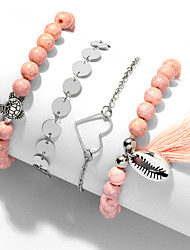 cheap -4pcs Women's Pink Bead Bracelet Vintage Bracelet Earrings / Bracelet Layered Heart Turtle Weave Vintage Fashion Cute Boho Colorful Alloy Bracelet Jewelry Silver For Daily / Pendant Bracelet