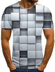 cheap -Men's Weekend Street chic T-shirt - Geometric / Color Block / 3D Black & White, Pleated / Print Gray