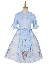 cheap -Floral Sweet Lolita Princess Lolita Dress Girls' Female Japanese Cosplay Costumes Sky Blue Animal Bowknot Lace Flare Sleeve Short Sleeve Knee Length