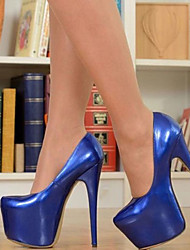 cheap -Women's Heels Stiletto Heel Round Toe Patent Leather Spring &  Fall Royal Blue / Party & Evening
