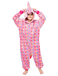 cheap -Kid's Kigurumi Pajamas Unicorn Flying Horse Onesie Pajamas Flannelette Purple / Red / Pink Cosplay For Men and Women Animal Sleepwear Cartoon Festival / Holiday Costumes