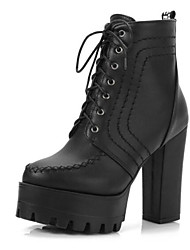 cheap -Women's Boots Chunky Heel Round Toe PU Mid-Calf Boots Fall & Winter Black / White / Green