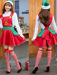 cheap -Santa Suit Cosplay Costume Outfits Masquerade Adults' Women's Cosplay Christmas Halloween Festival / Holiday Polyster Drak Red Women's Carnival Costumes / Top / Skirt / Hat