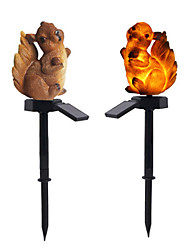 cheap -2pcs 2 W Lawn Lights Waterproof / Squirrel-Shaped Garden Decorative Lights/Solar / Creative Warm White 1.2 V Outdoor Lighting / Swimming pool / Courtyard 1 LED Beads