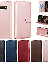 cheap -Case For Samsung Galaxy S10 Plus S10  Phone Case PU Leather Material Solid Color Pattern Phone Case for Galaxy S10 E S9 Plus S9 S8 Plus S8 S7 Edge S7