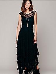cheap -Women's A Line Dress - Solid Maxi Colored Black White Blushing Pink S M L XL