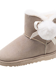 cheap -Women's Boots Low Heel Round Toe Pom-pom Satin Booties / Ankle Boots Casual Walking Shoes Fall & Winter Black / Beige