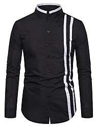 cheap -Men's Daily Basic Shirt - Solid Colored Black & White, Patchwork Black