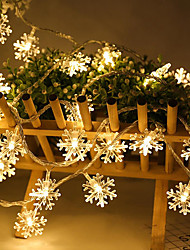 cheap -6M 40LEDS  LED Snowflake String Lights Snow Fairy Garland Decoration for Christmas Tree New Year Room Valentine's Day Battery
